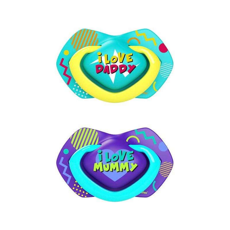 Биберони тип залъгалка Neon Love  6-18 м, 2 бр., син  268712