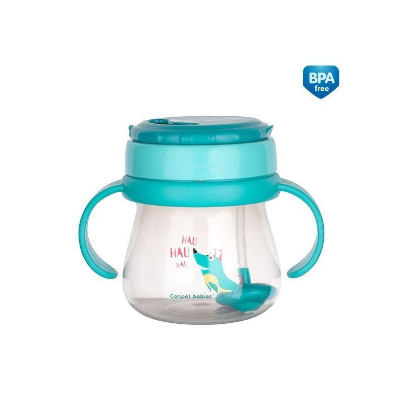 Полипропиленова чаша със сламка Cat, 250 мл., 12+ месеца, синя  268782