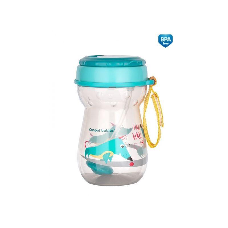 Полипропиленова чаша със сламка Cat, 350 мл., 12+ месеца, синя  268783