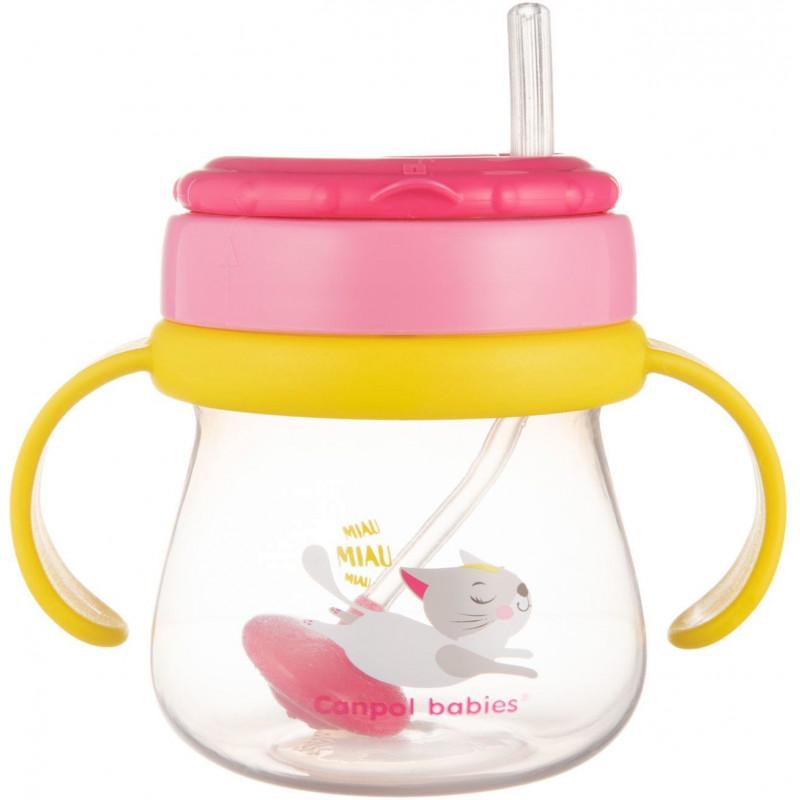 Полипропиленова чаша със сламка Cat, 250 мл., 12+ месеца, розова  268785