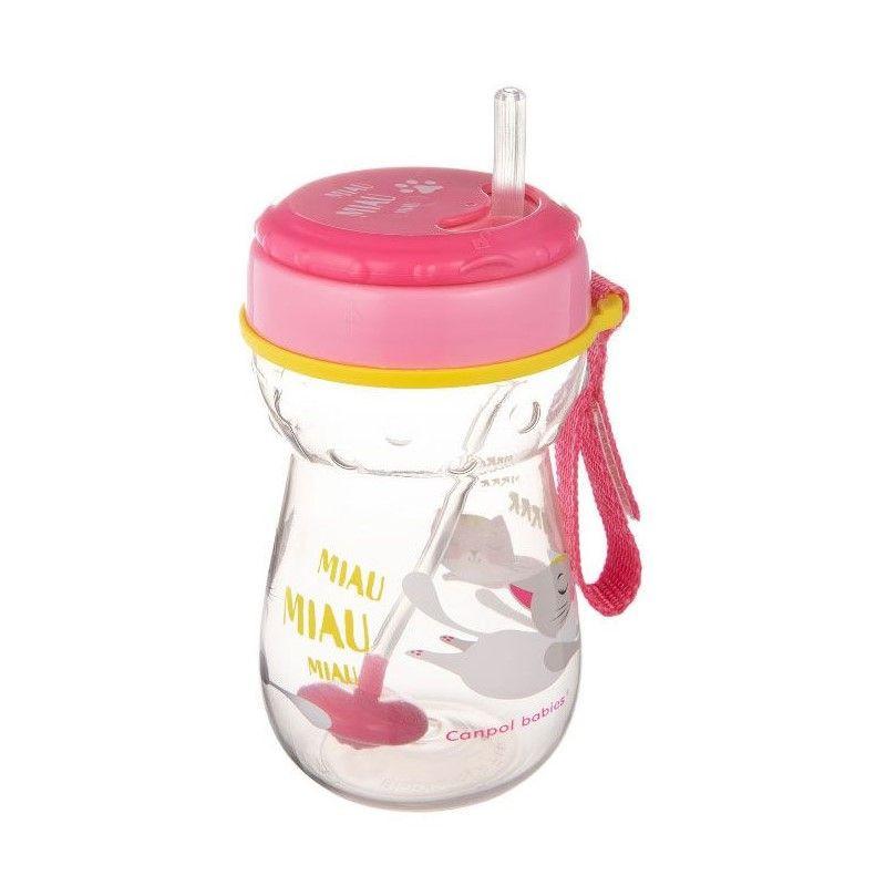 Полипропиленова чаша със сламка Cat, 350 мл., 12+ месеца, розова  268786