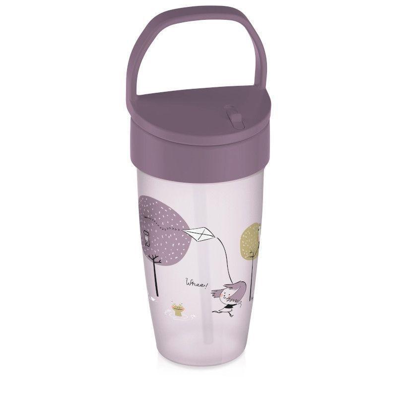 Полипропиленова чаша със сламка Lovely girl, 350 мл., 12+ месеца, розова  268789