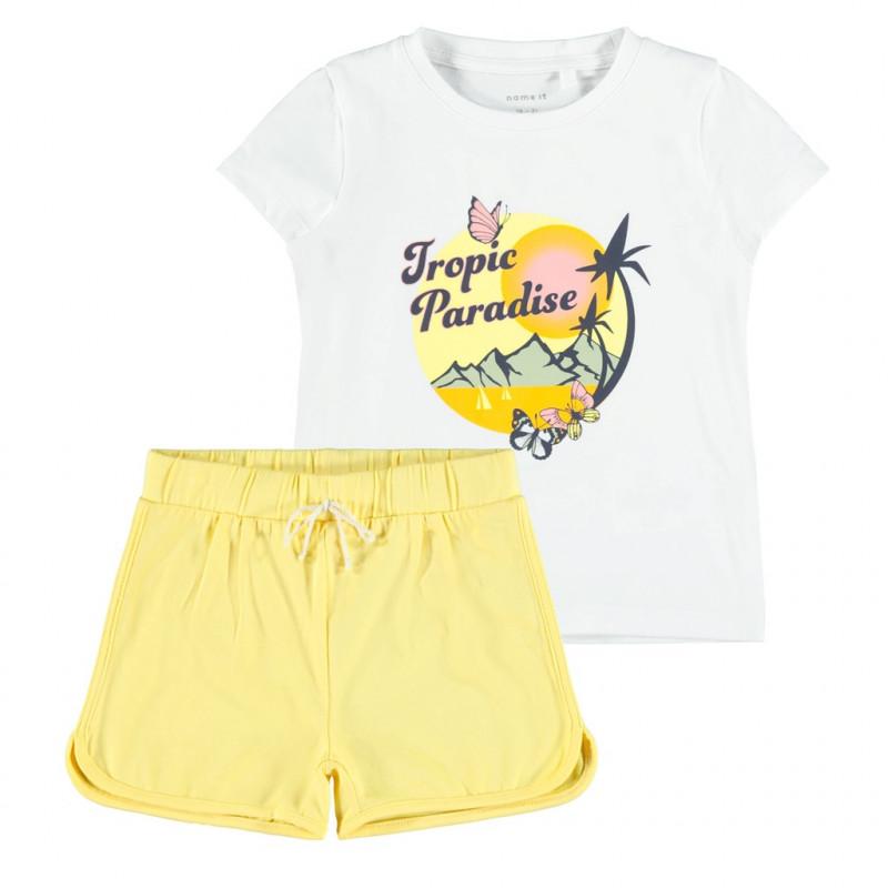Комплект от органичен памук тениска и панталони, многоцветни  272567