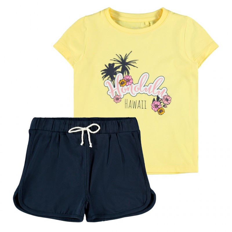 Комплект от органичен памук тениска и панталони, многоцветни  272570