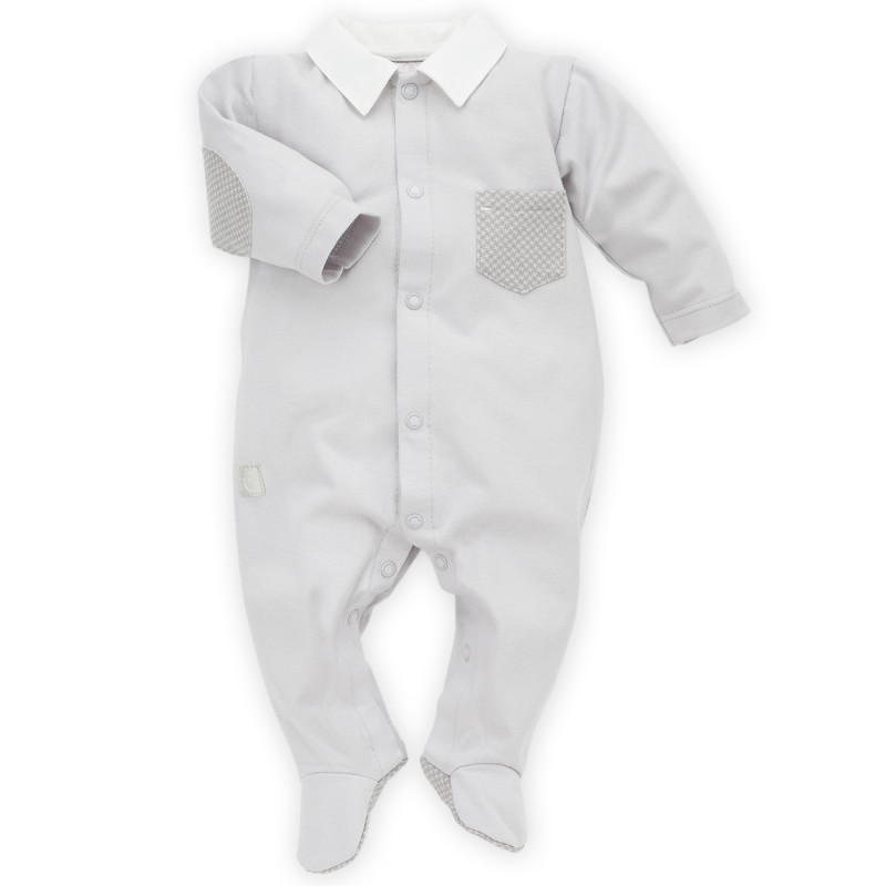 Памучен гащеризон с дълъг ръкав за бебе момче  28240