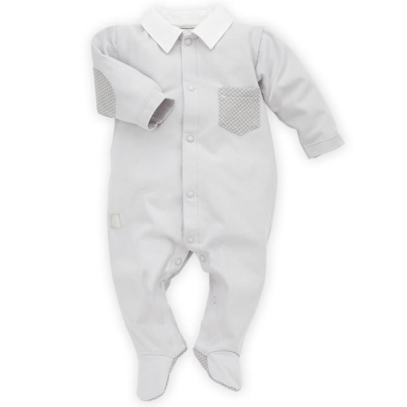 Памучен гащеризон с дълъг ръкав и яка за бебе момче  28240