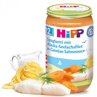 Пюре от спагети с морска треска в зеленчуково-сметанов сос, 1+ години, бурканче 250 гр. Hipp 28571