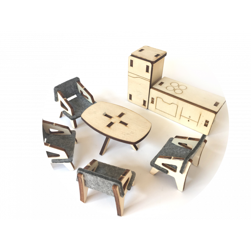 Комплект мебели за дървена къща за кукли, 7 бр,  2862