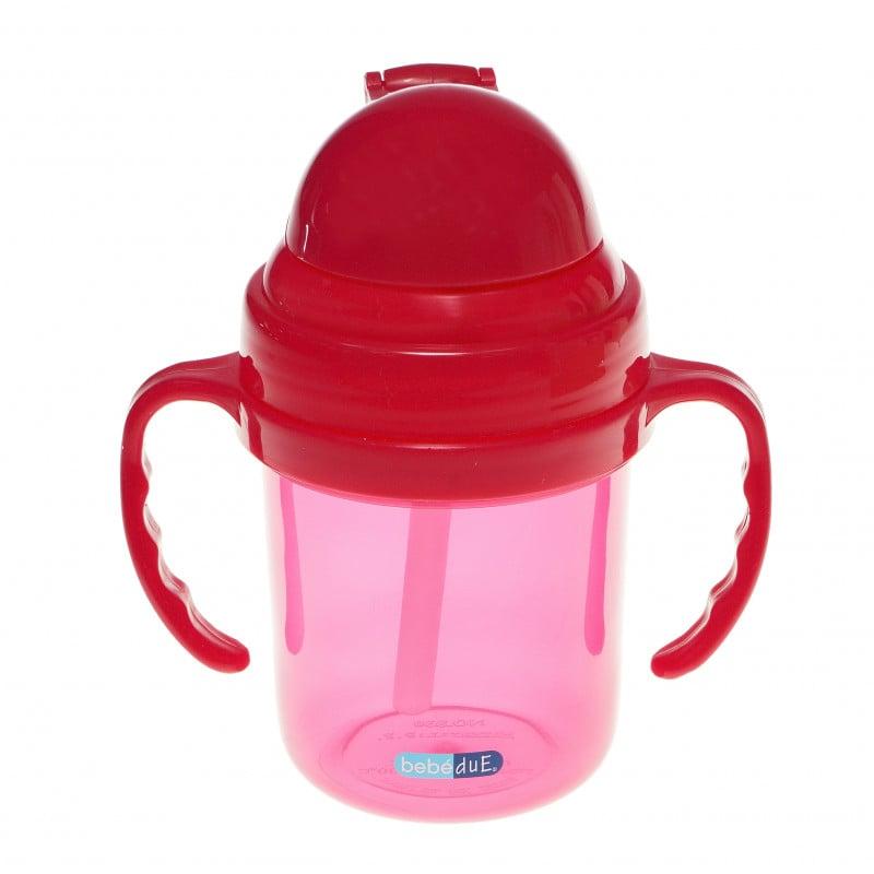 Чаша със сламка, розова, Пластмаса 190 ml,  286207