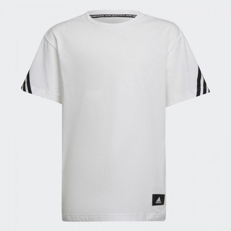 Тениска от органичен памук Future Icons 3 Stripes, бяла  286459