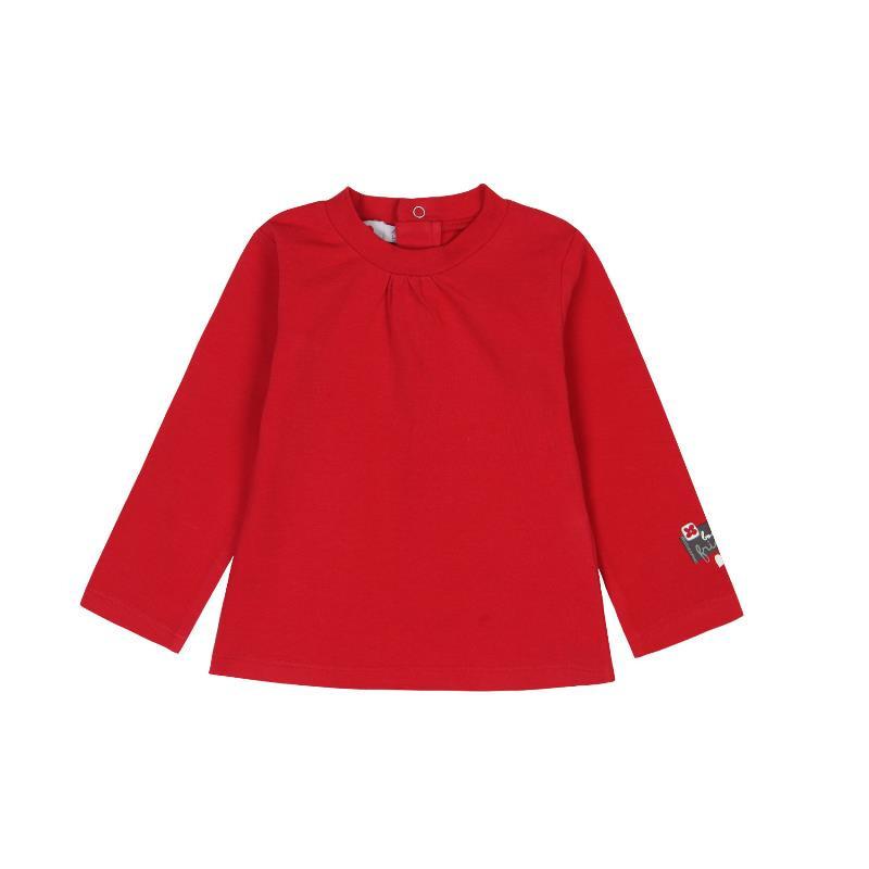 Памучна червена блуза с дълъг ръкав за момиче  288
