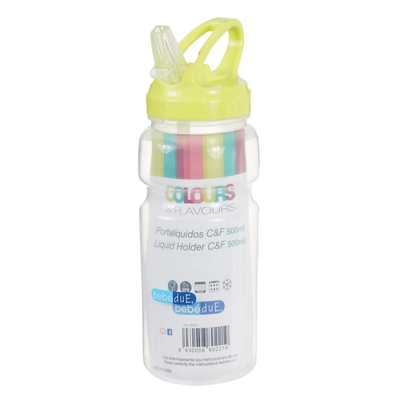 Полипропиленово шише за течности, с биберон , 6+ месеца, 500 мл.  291562