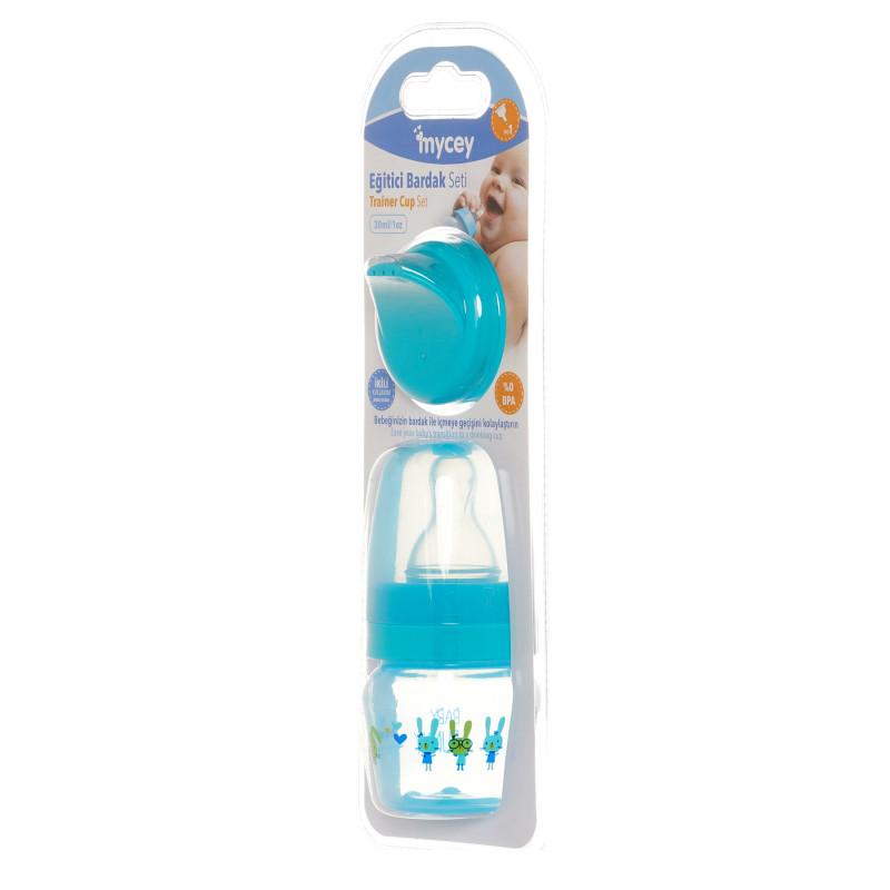 Полипропиленово шише за хранене, с биберон поток новородени, 0+ месеца, 30 мл, цвят: син  291640