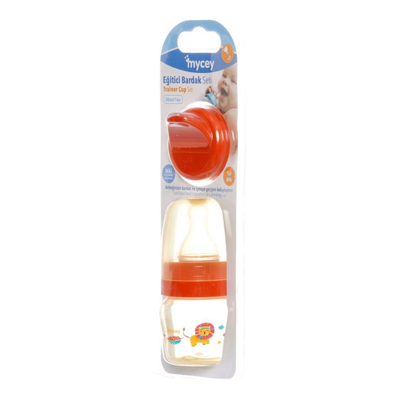 Полипропиленово шише за хранене, с биберон поток новородени, 0+ месеца, 30 мл, цвят: оранжев  291643