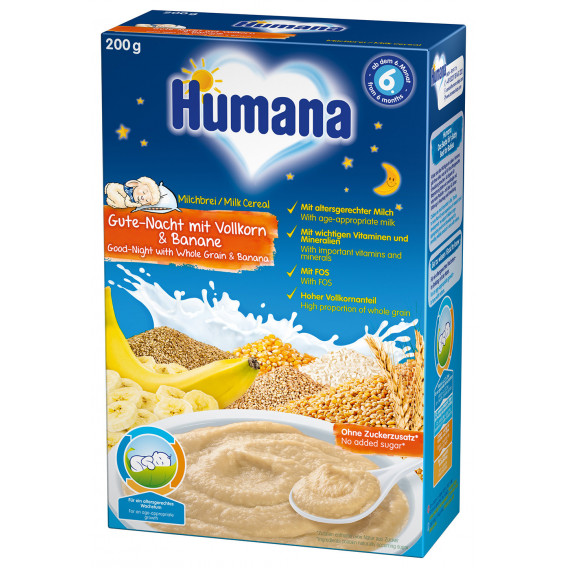 Млечна каша лека нощ-пълнозърнеста с банан , 6+ месеца, кутия 200 гр. Humana 2961