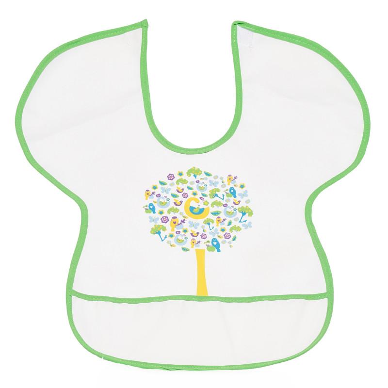 Непромокаем лигавник със зелен кант и картинка на цветно дърво  296479