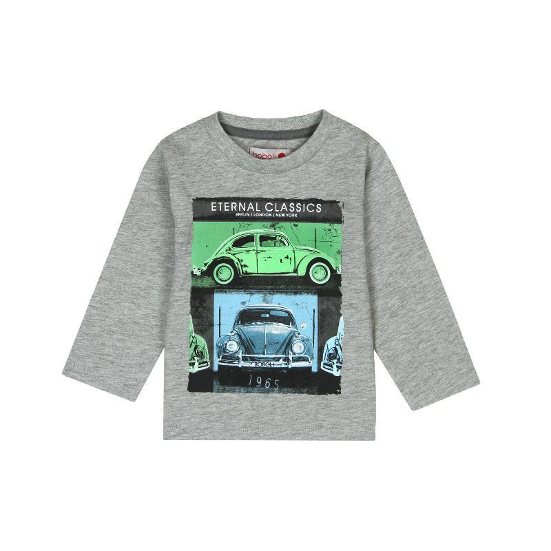 Памучна блуза с дълъг ръкав и щампа на коли за бебе момче  300