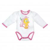 Памучно боди с дълъг ръкав за бебе момиче Looney Tunes 30552