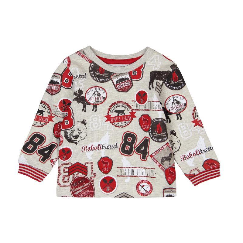 Блуза с дълъг ръкав с цветни апликации за бебе момче  312
