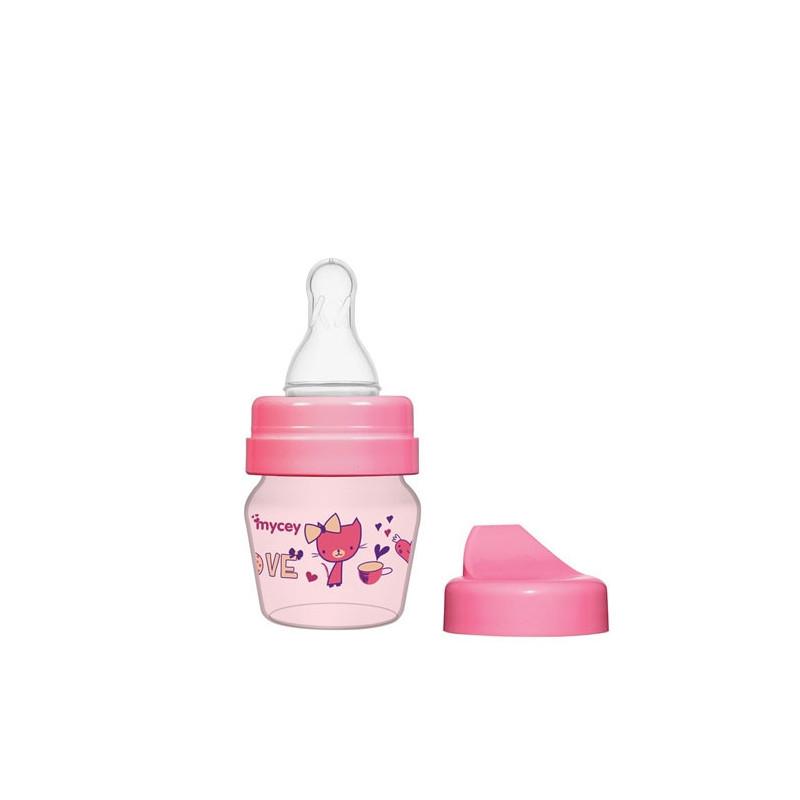Полипропиленово шише за хранене, с биберон поток новородени, 0+ месеца, 30 мл, цвят: розов  3121