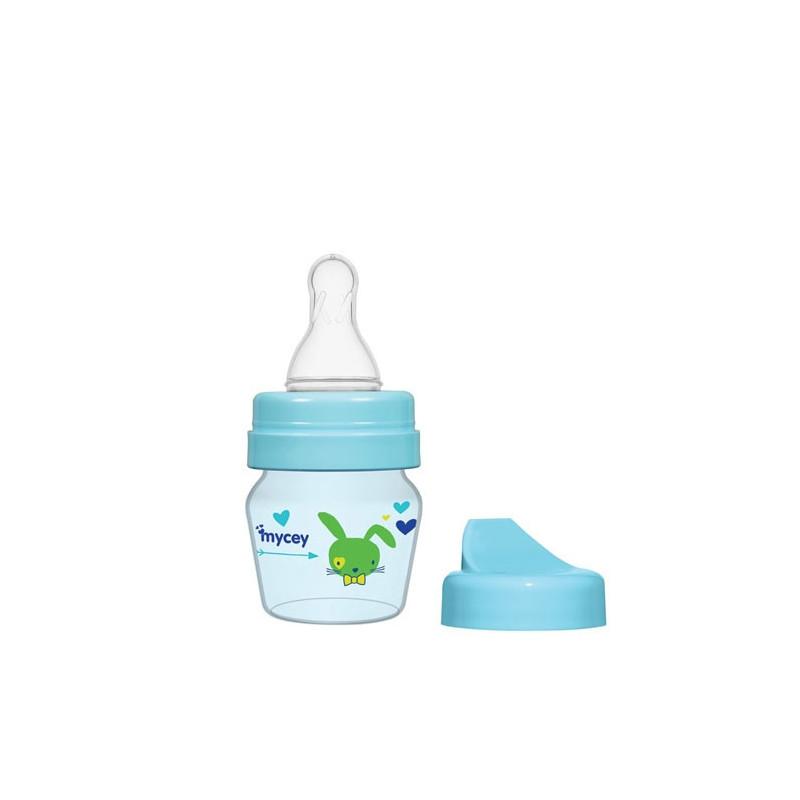 Полипропиленово шише за хранене, с биберон поток новородени, 0+ месеца, 30 мл, цвят: син  3122