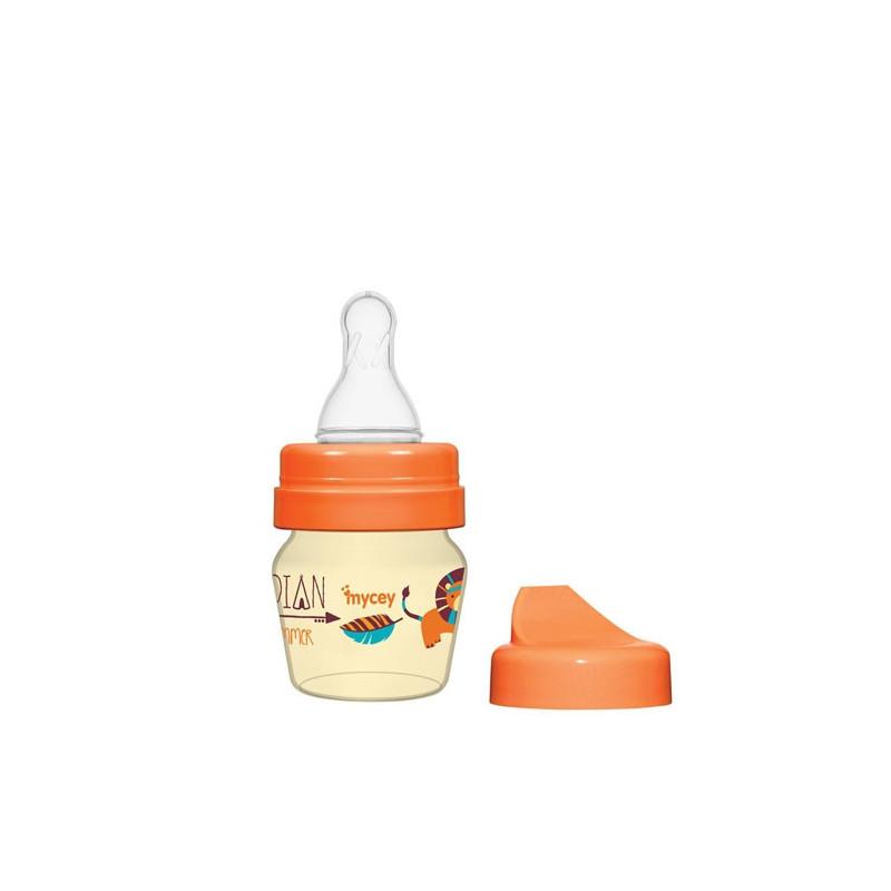 Полипропиленово шише за хранене, с биберон поток новородени, 0+ месеца, 30 мл, цвят: оранжев  3123