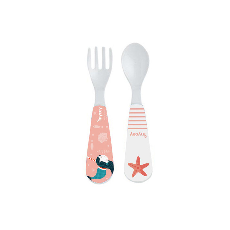 Комплект лъжичка и виличка с розова картинка  3143