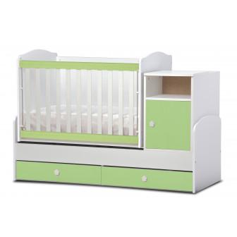 Бебешко легло маги бяло и зелено-  трансформиращо Дизайн Бейби 32065