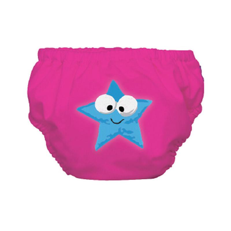 Бански за бебе момиче в розов цват със звездичка - размер L - над 14 кг.  3253