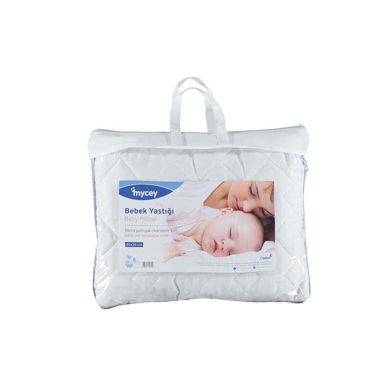 Бебешка възглавница, 35 х 45 см с антибактериални и антиалергични силиконови фибри и хипоалергичен памук  3264
