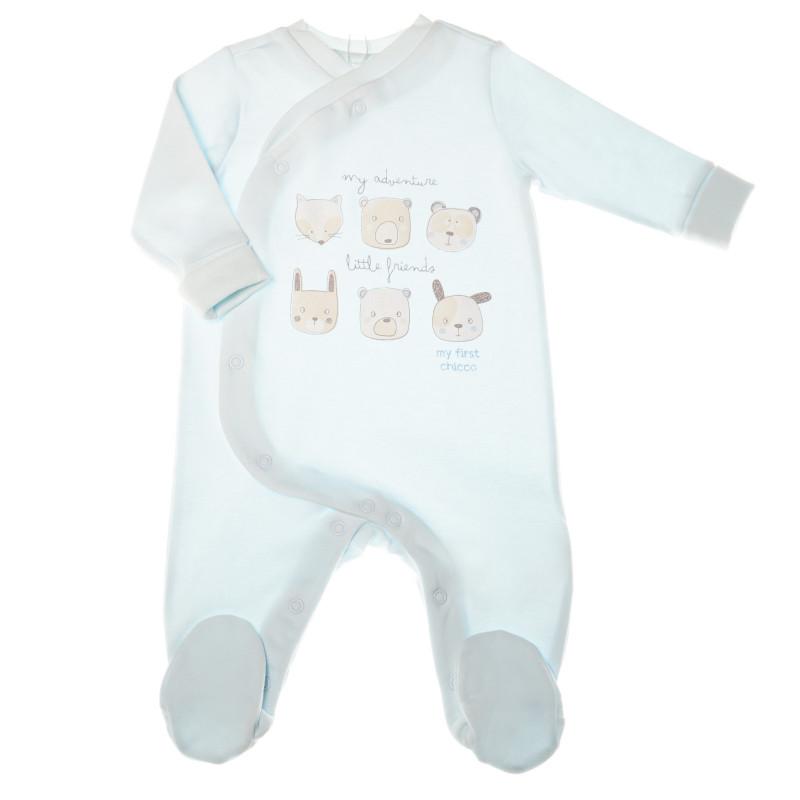 Памучен гащеризон с дълъг ръкав и  весели картинки за бебе момче  32676