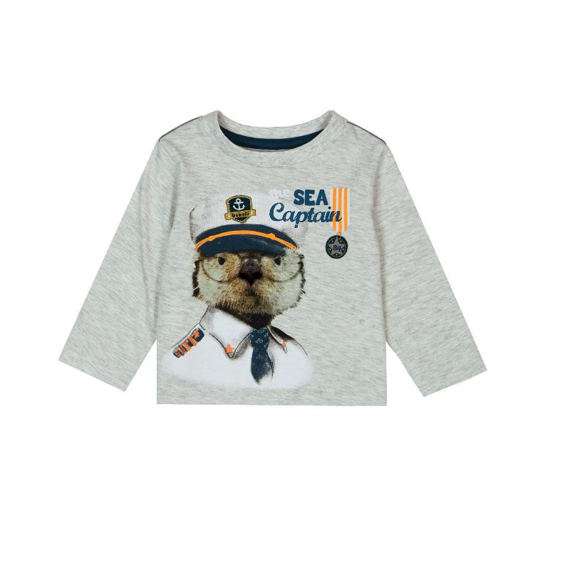Памучна блуза с дълъг ръкав и цветна щампа за бебе момче, сива  328