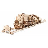 3D Механичен пъзел локомотив с тендер Ugears 3300
