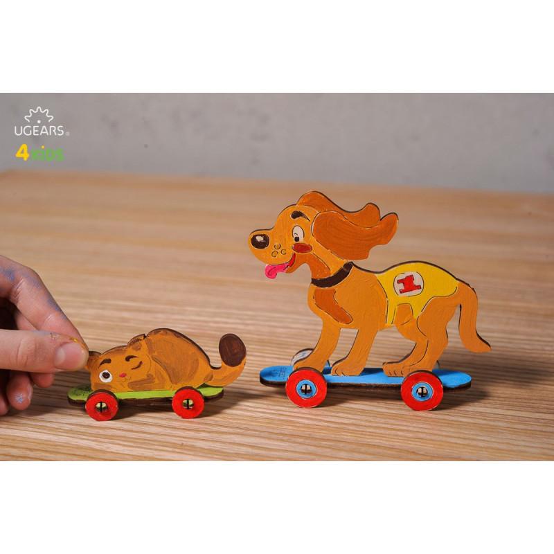 3D Механичен пъзел 4kids котенце и кученце  3344
