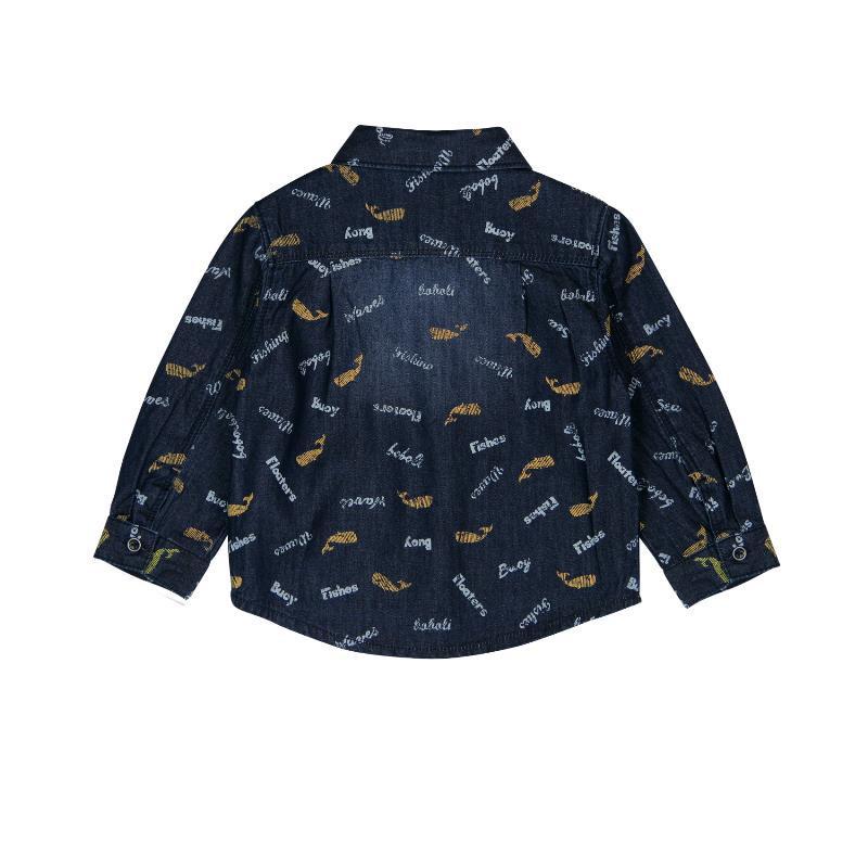 Памучна риза с дълъг ръкав и износен ефект за бебе момче  336