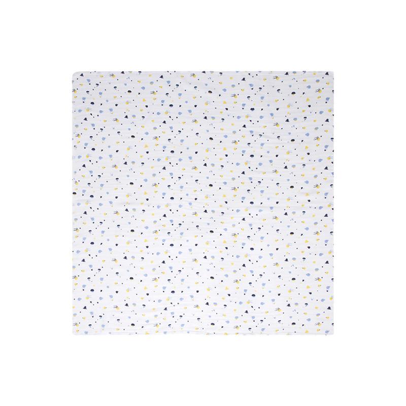 Муселинова пелена с цветен принт, цвят: Бял  34401