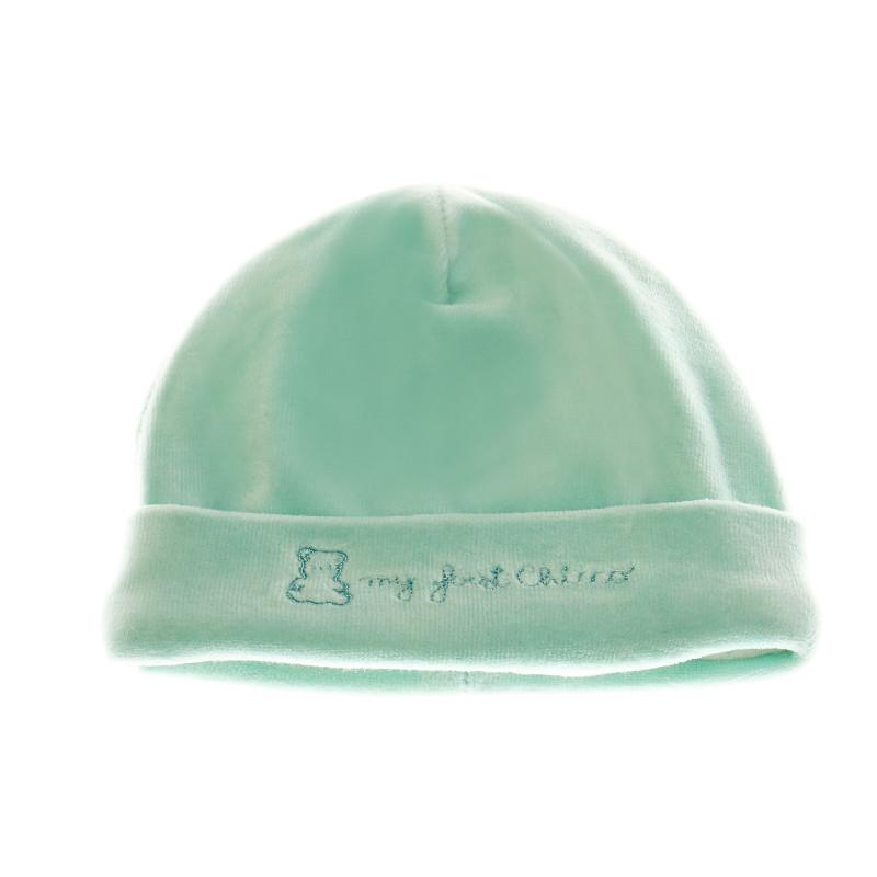 Плетена шапка за бебе в ментов цвят  36307
