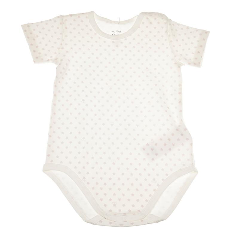 Памучно боди с къс ръкав и малки розови звездички за бебе  36641