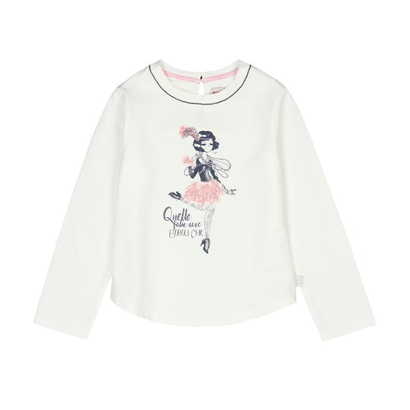 Памучна блуза за момиче с кокетна щампа отпред  3674