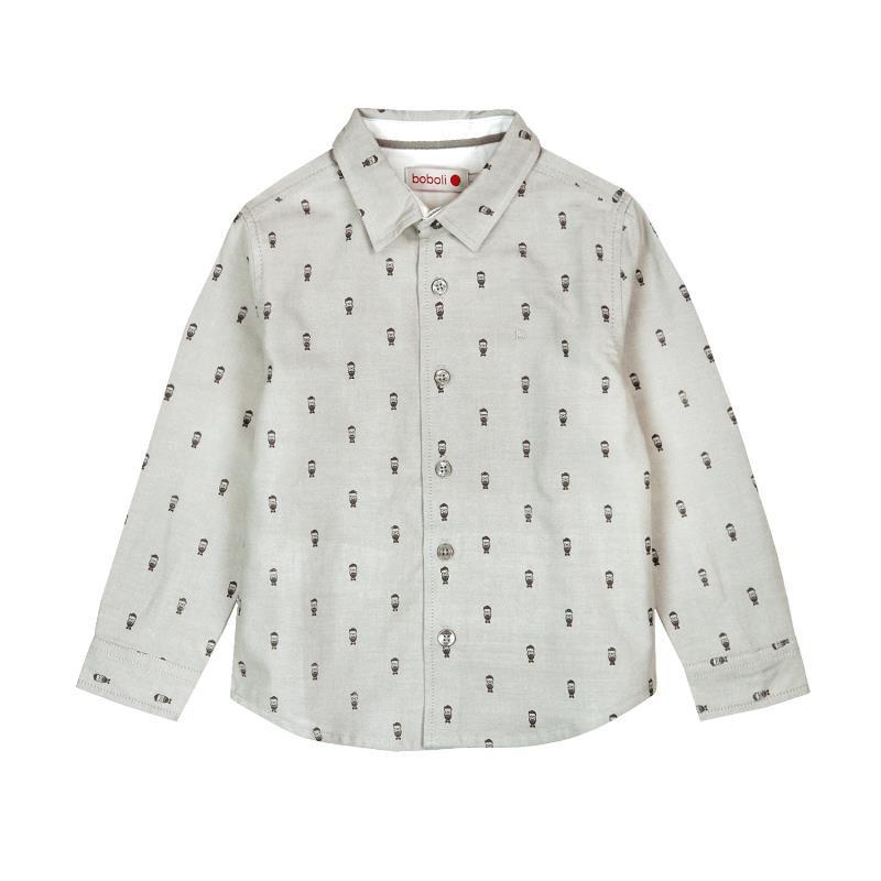 Памучна риза с графичен принт, сива  3686