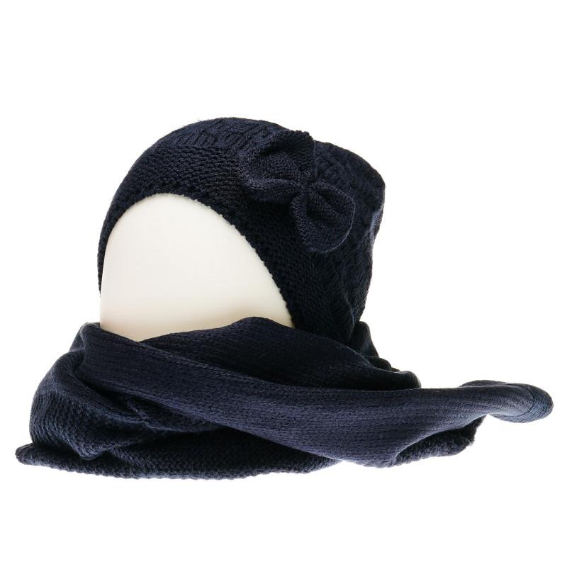 Плетен комплект с елегантна шапка и шал за бебе за момиче тъмно сини  36865