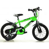 "Детско колело зелено с помощни колела 16"" Dino Bikes 37651"