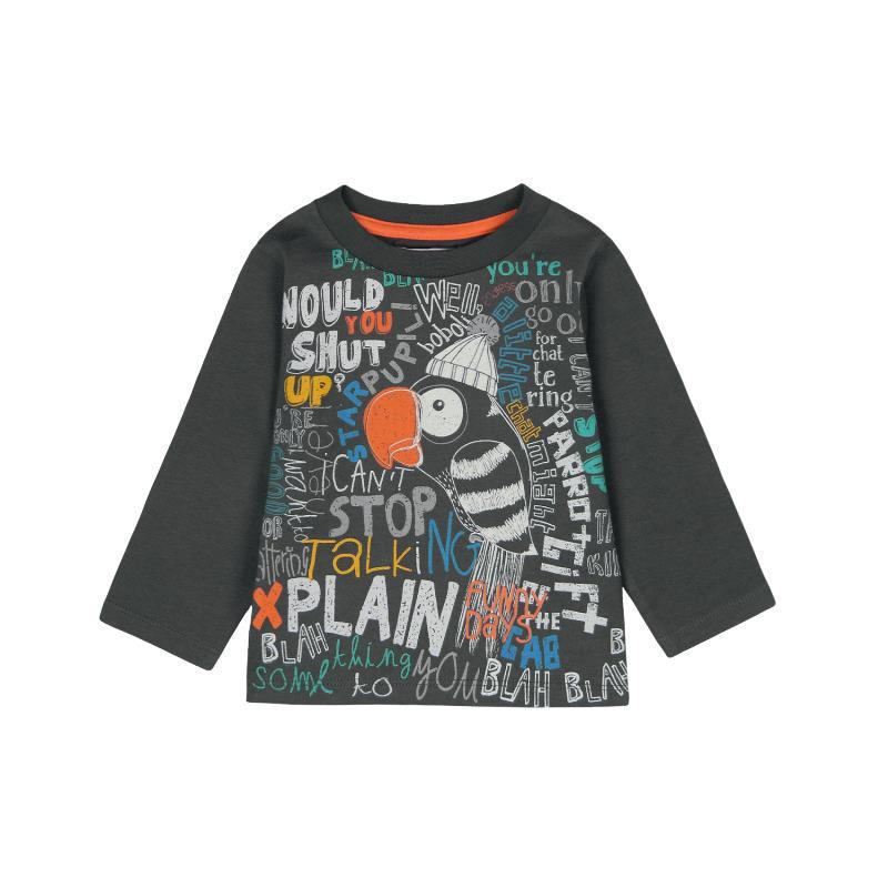 Памучна блуза с дълъг ръкав и шарена щампа за бебе момче  379