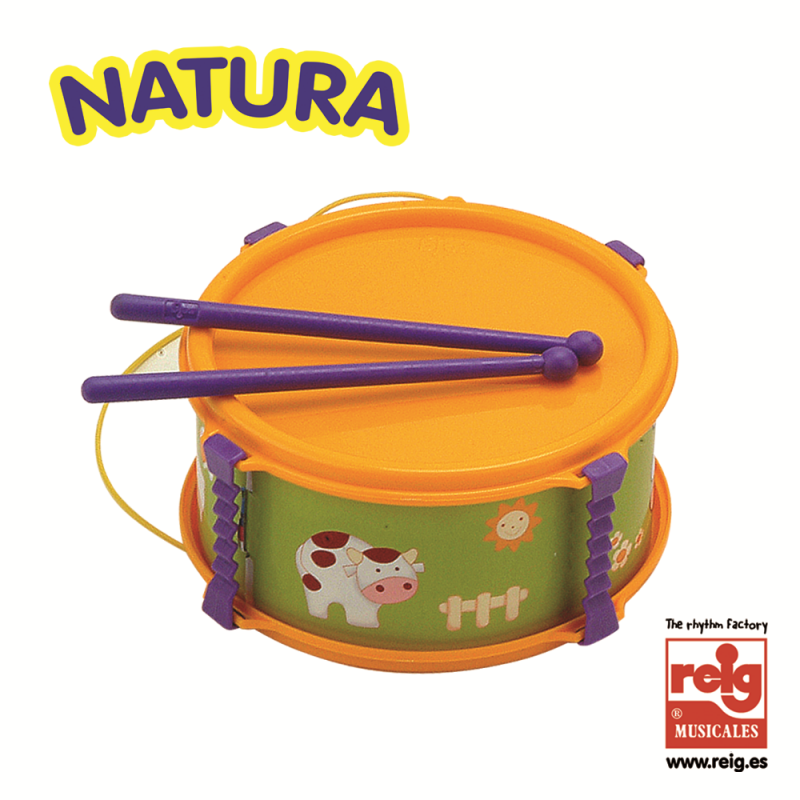 Детски барабан, оранжев със забавни картинки  3839