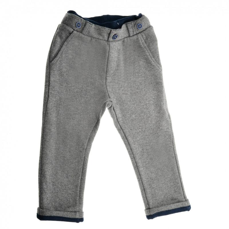Памучен дълъг панталон за момче сив  38743