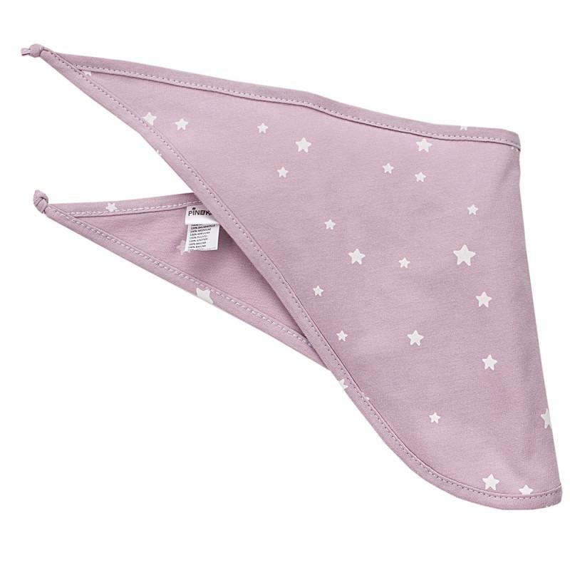 Бандана за бебе с бял принт розова  3964