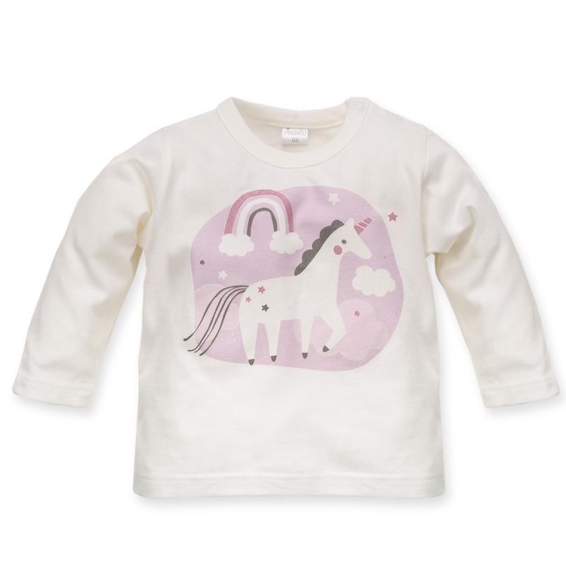 Памучна блуза за бебе момиче с апликация еднорог и дъга  3975