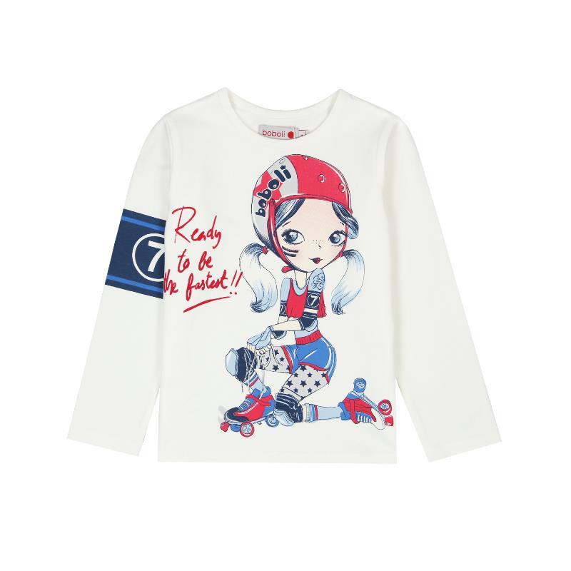 Блуза с дълъг ръкав за момиче с нежен дизайн  401