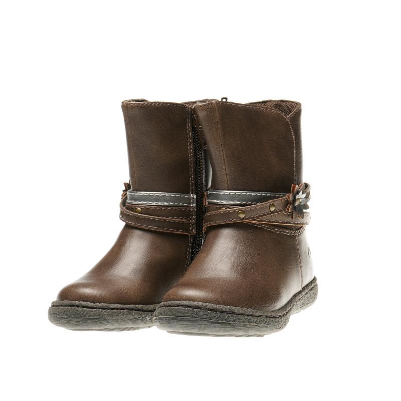 Зимни кожени ботуши за момиче с каучукова подметка , кафяви  40110