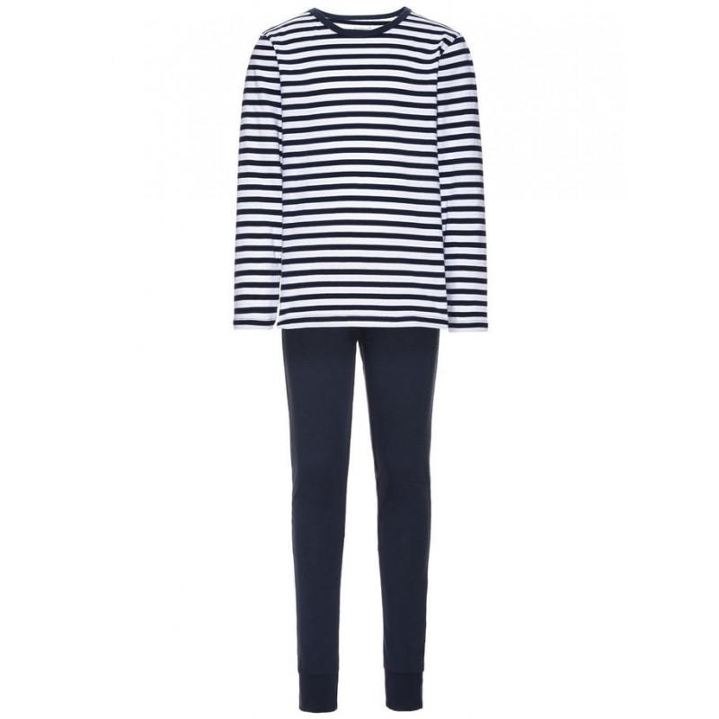Памучна пижама от 2 части  в бяло и синьо райе за момче  4045
